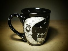 The Moon - handpainted coffee cup