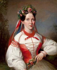 Polish mid 19th century traditional clothes. By artist - Marcin Jabłoński