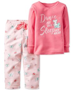 Carter's Girls' or Little Girls' 2-Pc. Long-Sleeve Dance All Day Top & Pants Pajama Set