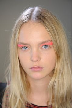 We love how Val Garland applied a graphic block of sparkling colour to the eye sockets of each model. #Hallolook #allbeauty