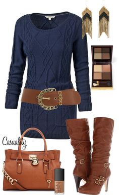 "Super cute...just need a longer dress ...:) ""Sweater Dress and Boots"" by casuality on Polyvore"