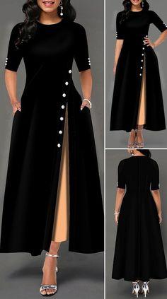 Womens Fashion - Side Slit Half Sleeve Button Detail Maxi Dress HOT SALES beautiful dresses, pretty dresses, holiday fashion, dresses outfits, d Beautiful Dress Designs, Stylish Dress Designs, Dress Neck Designs, Dresses Elegant, Stylish Dresses, Pretty Dresses, Beautiful Dresses, Awesome Dresses, Indian Gowns Dresses