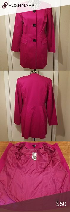 NWT East 5th Pink/Fuscia Trench Coat Excellent condition! No rips, stains, snags or tears. Item is NWT and ready to wear. Comes with an additional button. East 5th Jackets & Coats Trench Coats
