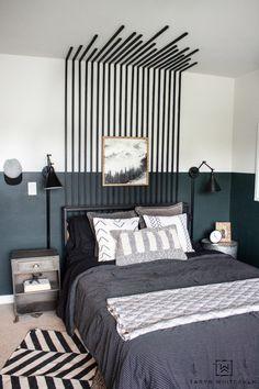 Lodge Bedroom, Bedroom Decor, Bedroom Ideas, Green Boys Room, Modern Lodge, Modern Boho, Accent Wall Bedroom, Accent Walls, Master Bedroom