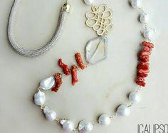 Collana di perle, collana, collaaana di perline, gioielli spiaggia, collana lunga, collana di corallo, dichiarazione collana, gioielli in pietre dure moglie