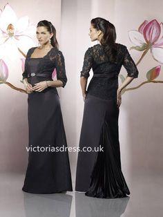 Sheath/Column Strapless Satin Black Mother of Bridal Dress With Beading