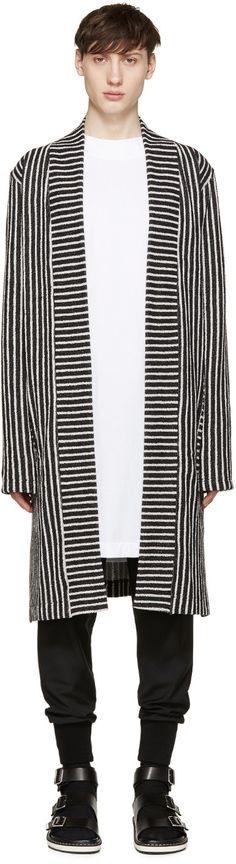 Pyer Moss SSENSE Exclusive Black & White Striped Cardigan