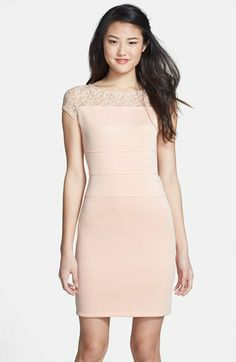 Gabby Skye Lace Yoke Scuba Body-Con Dress available at #Nordstrom