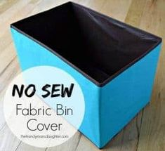 Sewing Fabric Storage Grab that ugly fabric bin from the clearance section and transform it with just half a yard of fabric with this handy tutorial. No sewing required! Fabric Bins, Fabric Storage, Diy Storage, Fabric Scraps, Fabric Basket, Vinyl Fabric, Quilting Fabric, Sewing Hacks, Sewing Projects