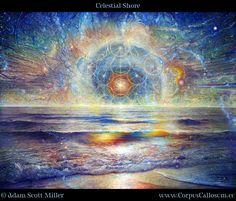 Celestial Shore by Adam Scott Miller. Sacred geometry. Tree of life. Flower of life. Ocean. Waves. Water. Sunset. ecoartopia.org