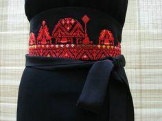 Palestinian Embroidery Jerusalem Skyline Japanese Vintage Kimono Silk Wide Black Obi Belt by Christ'l Couture