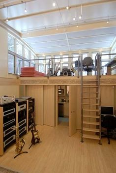 Upstairs is where the magic will happen in this modern studio design just for the students