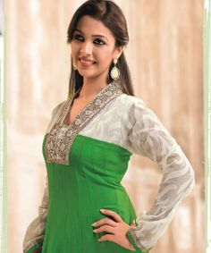 Play with colour and pair this kurta in Italian green give this outfit the finishing touch with a traditional motifs!!!