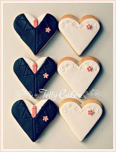 Coral Bride and Groom Wedding Cookie Favors