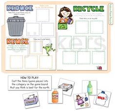 A printable file folder game to teach the 3 R's by DJ Inkers