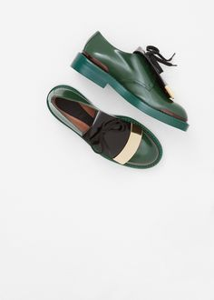 Marni Color Block Derby in Pine / Coffee
