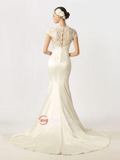 dobrý krajkový čepiec rukávy vybavený satén morská panna svadobné šaty s tlačidlami späť na predaj - Svatebnisaty2014.eu