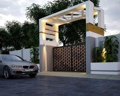 Discover the Most Beautiful Modern House Entrance Designs at The Architecture Design. View more images and designs about Modern home Entrance. Modern Front Gate Design, Home Gate Design, Gate Designs Modern, Main Gate Design, House Front Design, Entrance Design, House Front Gate, Front Gates, Entrance Gates