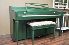 """Emerald Green"" It's not easy being green. -Kermit the Frog.  #upcycle #DIY #refinish #piano #green #paintedpiano"
