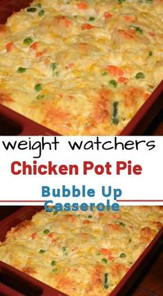 Chicken Pot Pie Bubble Up Casserole Okay, now I'm in trouble as I want this right now. We LOVE the enchilada bubble and pizza bubble casseroles. My Weight Watchers group has a Facebook page and I've been