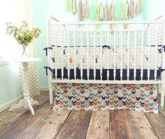 Boutique Crib Bedding in Navy Orange Gray by IsabellaDanielandCo
