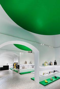 The Retail Space Encompasses A 500 Square Meter Area Showcasing Unique Aesthetic That Futuristic InteriorRetail