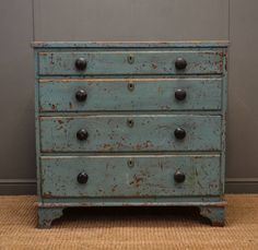 Rustic Painted Georgian Antique Chest Of Drawers 254823