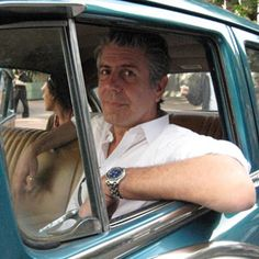 Anthony Bourdain..I love to listen to him talk about food & travel..laughable poetry with a hard edge.