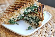 Spinach and Creme Fraiche Grilled Cheese Sandwich