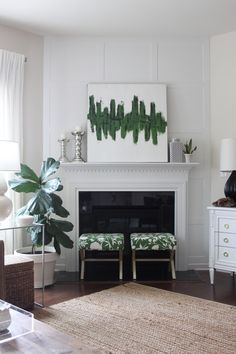 Corner fireplace issues-- Dwellings By DeVore: DIY board and batten accent wall Fireplace Accent Walls, Paint Fireplace, Shiplap Fireplace, Small Fireplace, Rustic Fireplaces, Fireplace Remodel, Living Room With Fireplace, Fireplace Surrounds, Fireplace Design