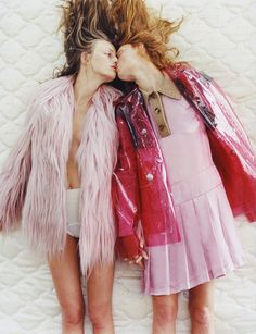 Frederikke Falbe-Hansen and Steffy Argelich for Pop Magazine A/W 2014 // fur and pink