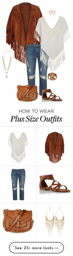 """""""On the fringe- plus size"""" by gchamama on Polyvore featuring River Island, James Jeans, Warehouse, White House Black Market and Vince Camuto"""