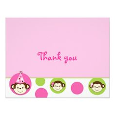 Mod Girl Monkey Pink Green Thank You Note Cards Custom Invitations