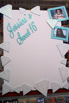 Diamond sign in board / use for guests to write notes? Diamond Theme, Diamond Party, Sweet 16 Birthday, 16th Birthday, Sweet Sixteen Centerpieces, Lucky Diamond, Bling Party, Write Notes, Pearl Party