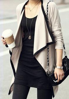 Draped Open-front Cardigan - With Drape Shawl Collar