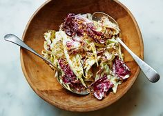 This simple, palate-cleansing Endive and Radicchio Salad with Roasted Hazelnuts looks great with different types of radicchio. Endive Recipes, Salad Recipes, Healthy Recipes, Veggie Recipes, Healthy Meals, Easy Recipes, Healthy Eating, How To Roast Hazelnuts, Kitchens