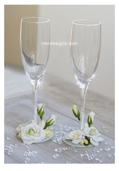 Hand Decorated Wedding Champagne Glasses Set by IrenDesigns, €45.00