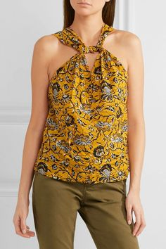 Shop on-sale Acan printed cotton top. Browse other discount designer Sleeveless Top & more luxury fashion pieces at THE OUTNET Isabel Marant, Cotton Slip, Printed Cotton, Army Green Pants, Ancient Greek Sandals, Black Cotton, Top Sales, Luxury Fashion, My Style