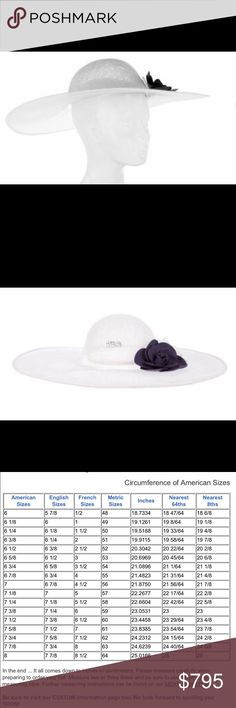 CHANEL White Straw Hat w/Blue and White Camellias Size 57, tiny bit of makeup on the inside front rim.  Otherwise in like new condition.  Cruise collection.  One blue frayed and one white frayed camellia on the brim.  Beautiful.  Please measure your head and compare to the chart provided.  Only high end trade or sale interest. CHANEL Accessories Hats