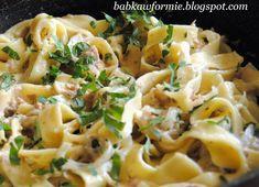 makaron wstęgi pappardelle z tuńczykiem w sosie śmietanowym babkawformie.blogspot.com Calzone, Potato Salad, Macaroni And Cheese, Food And Drink, Pizza, Potatoes, Cooking, Healthy, Ethnic Recipes