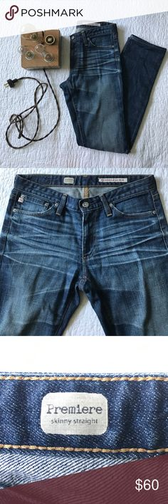 AG premiere skinny straight leg jeans Re-posh. Amazing condition. Super cute wash. 29in inseam. I wear a 27 in jeans and these are just too small. I wish I could squeeze into them! Ag Adriano Goldschmied Jeans