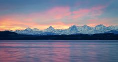 Another Sunrise over the Alps - Neuchâtel - Switzerland Switzerland Wallpaper, Switzerland Vacation, Alps Switzerland, Sunrise Landscape, Mountain Background, Morning Sunrise, Beautiful Places, Scenery, Mountains