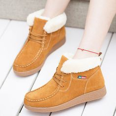Women Fashion High Top Lace Up Flats Casual Winter Warm Shoes Ankle Snow  Boots Fashionable Outfits adb77d34fe43