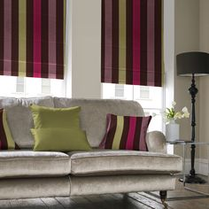 Roman Blinds offer that modern alternative to curtains; all are fully lined, with an option of blackout lining. We will even create a blind using your own fabric!   Illumin8 Made To Measure Roller Blinds | Here in dark brown, pink, light pink & green stripes |