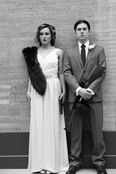 Bonnie and Clyde looking all styled for their wedding shoot. Nashville Wedding Photographer. #styled #bride #dress #groom #bonnie and clyde #theme