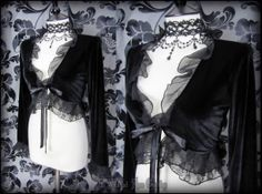 Gothic Romantic Black Velvet Chiffon Lace Ruffle Tie Front Cardigan 10 Victorian | THE WILTED ROSE GARDEN on eBay // Worldwide Shipping Available