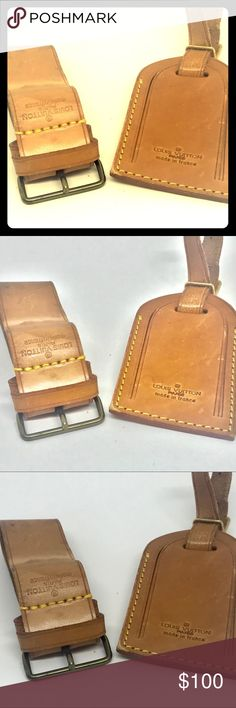 Authentic Louis Vuitton Luggage Tag, Strap: 3 pcs Guaranteed Authentic.   Includes 3 pieces: luggage tag, hang strap-loop, handle strap. Keepall, neverfull, alma, Speedy, lv, réal Louis Vuitton, authentic Louis Vuitton, Louis Vuitton Accessories