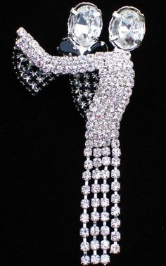 """NEW YEARS BLACK TIE CHA CHA BALLROOM DANCING DANCE PIN BROOCH JEWELRY 2.5"""" MOVES #Unbranded"""