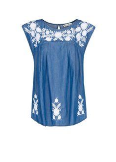 MANGO - Embroidered flowers denim blouse