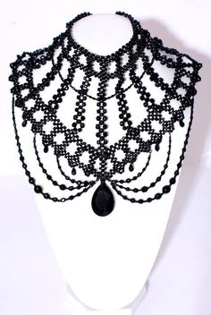 Jewelry and the Darkside: Fashionable Gothic Jewelry - Jewelry Daze Gothic Accessories, Gothic Jewelry, Jewelry Accessories, Beaded Choker, Beaded Jewelry, Shoulder Jewelry, Diy Necklace, Necklaces, Bead Weaving